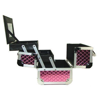 """Hot Pink Block Cosmetics Makeup Train Case with Mirror by Seya. $28.00. 2 Pull Out Drawer. 1 Large mirror Which Doubles as a lid. Swivel Handle top. Black Easy to clean Interior. High quality Aluminum Frame with reinforced steel corners. High quality Aluminum Frame with reinforced steel corners Black Easy to clean Interior 2 Pull Out Drawer 1 Large mirror Which Doubles as a lid Swivel Handle top Secure easy close latch w/ lock and key Tray Dimensions 7"""" L  x 5"""" W X 1"""" H  Ou..."""