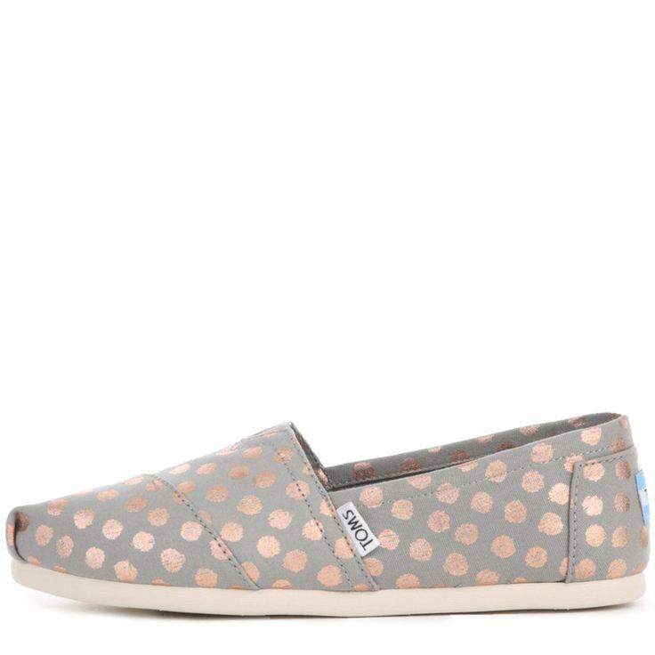 Toms for Women: Classic Polka Dots Grey Flats