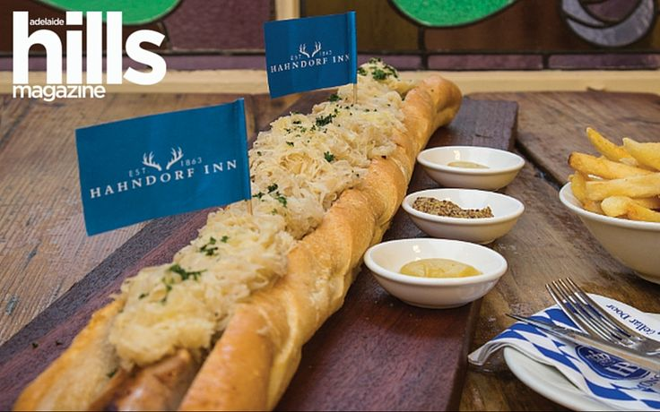 The metre-long Giant German hotdog is on the menu at the Hahndorf Inn in the Adelaide Hills – and it has a cult following with visitors and South Australian locals alike.