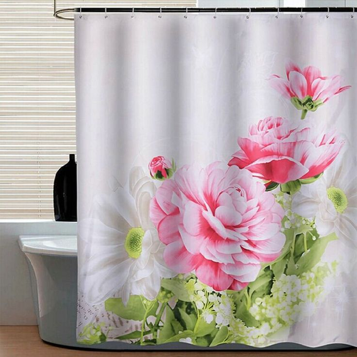 ==> [Free Shipping] Buy Best 2017 New Eco-friendly 3d shower curtain rings rod for bathrom red Peony flower fireproof shower curtain for bathroom Online with LOWEST Price | 32326217374