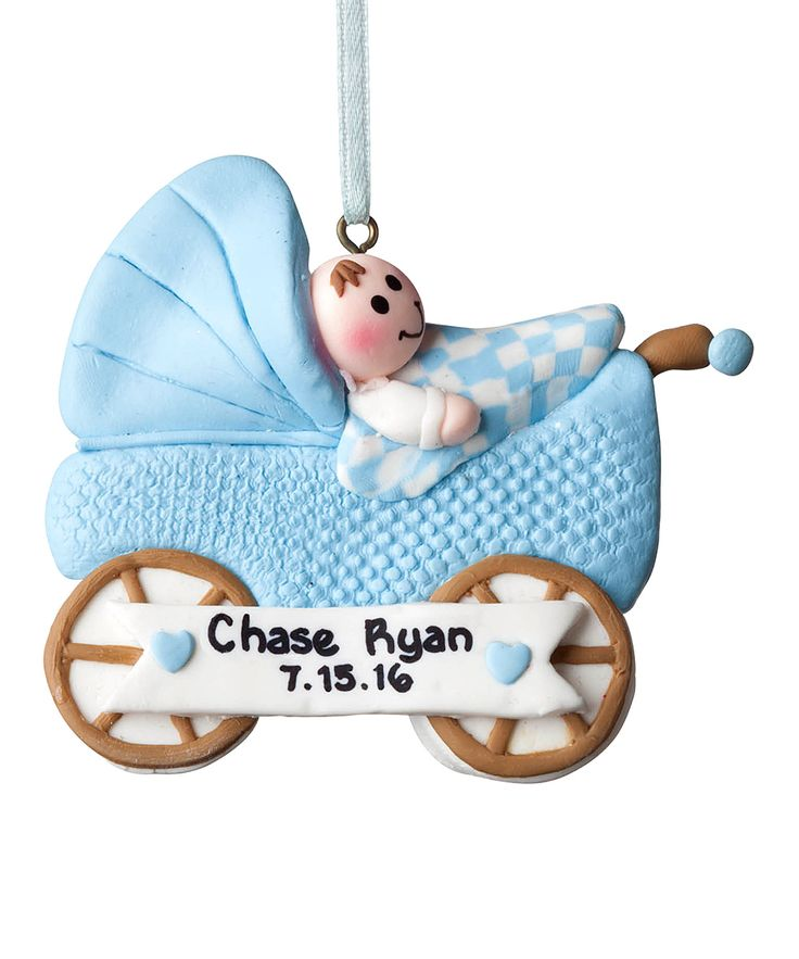 Personalized Blue Baby Buggy Ornament