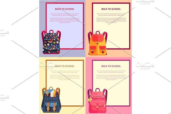Back to School Banner with Text Backpacks Set Graphics Back to school banners set with place for text and backpacks made of fabric cloth with handles vecto by robuart