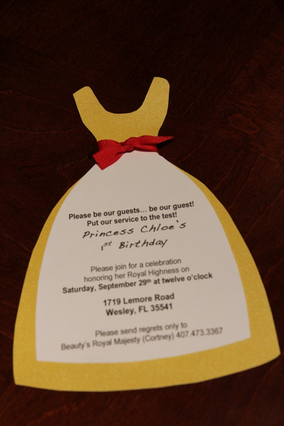 Princess Belle Invitations Set of 10 by CraftyCoutureMommas, $20.00