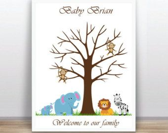 Safari Baby Shower Printable Thumbprint Tree Guest Book Poster, Nursery Wall Art,  Custom Text, Color and Language available