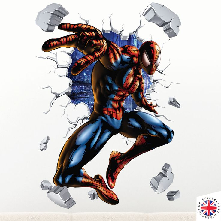 3D SPIDERMAN Wall Sticker Decal Mural Vinyl Poster Boys