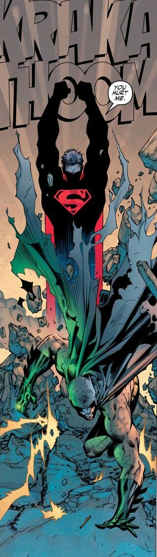 An Amazing Panel From Batman 612 : Hush. A Batman Vs Superman fight.  By  LEE / LOEB / & WILLIAMS
