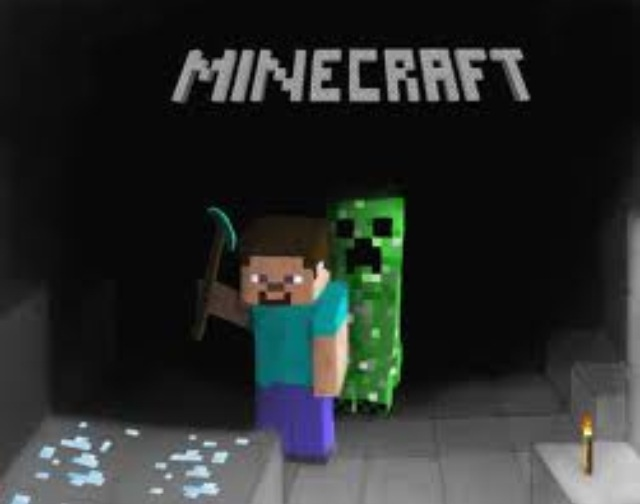 Minecraft cave with creeper sneaking up on steve who is - Minecraft creeper and steve ...