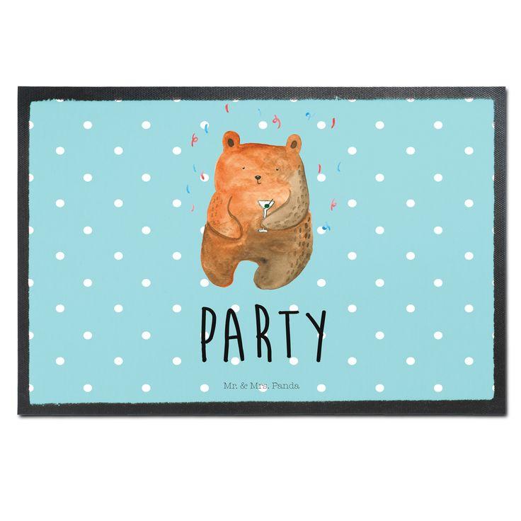 Fußmatte Druck Party - Bär aus Velour  Schwarz - Das Original von Mr. & Mrs. Panda.  Die wunderschönen Fussmatten von Mr. & Mrs. Panda sind etwas ganz besonderes. Alle Motive werden von uns entworfen und jede Fussmatte wird von uns in unserer Manufaktur selbst bedruckt und liebevoll an euch verschickt. Die Grösse der Fussmatte beträgt 60cm x 40cm.    Über unser Motiv Party - Bär  Unser süßer Bär ist schon richtig in Stimmung - Konfetti & Drinks!     Verwendete Materialien  Hochwertiges 300…