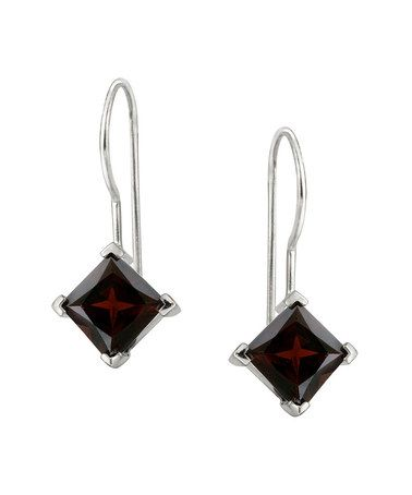 Look what I found on #zulily! Garnet & Sterling Silver Diamond-Shaped Drop Earrings #zulilyfinds