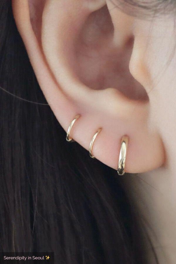 Small Thin Hoop Earring 14k Gold Goruntuler Ile Dugme Kupeler