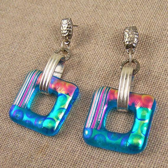 "Dichroic Earrings Post Dangle Turquoise One Inch 1"" Square - Pink Green Peach Gold Fused Glass"