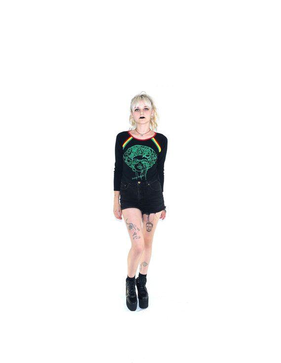 90's Stoner Rasta Shirt Black Tee Size Small by ACTUALTEEN on Etsy, $18.00