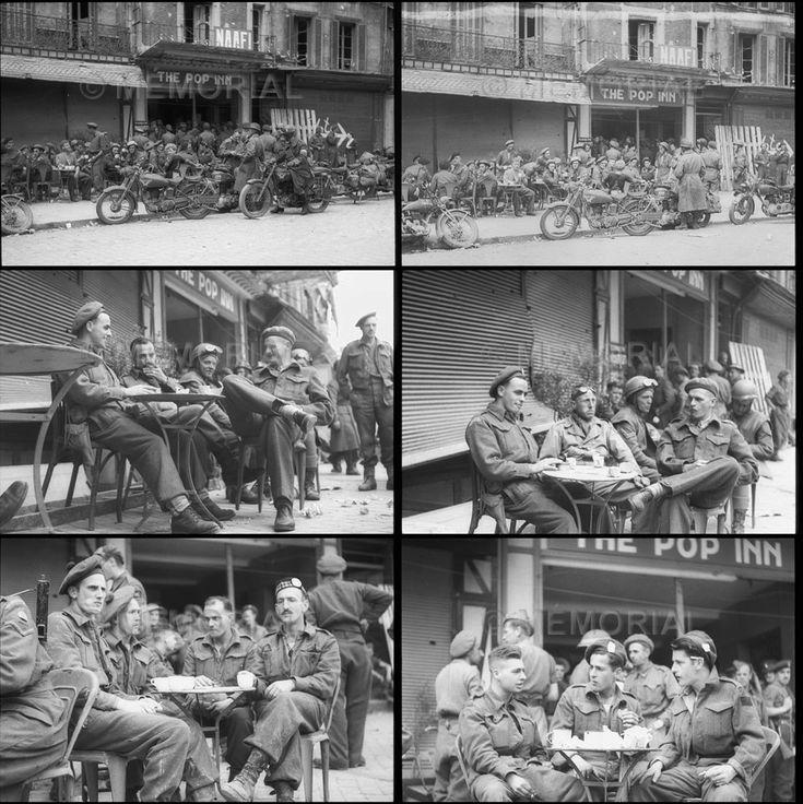 """Caen: 'The Pop Inn"""", cantine du Navy, Army et Air Force Institute (N.A.A.F.I.). Toutes ces photos ont été prises le 27 juillet 1944, par le photographe Michael M. Dean."""