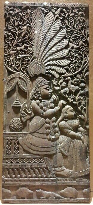 """Lord Krishna  Combing Radha's Hair."" Wooden Plaque. Nathdwara. 18th Century CE. National Museum, New Delhi, India."
