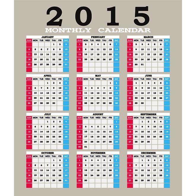 Biru Kehijauan dan Pink blok 2015 kalender Vector Desain Unik Jpg Cetak Template Download