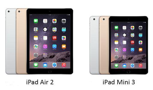 Spesifikasi Harga iPad Air 2 dan iPad Mini 3
