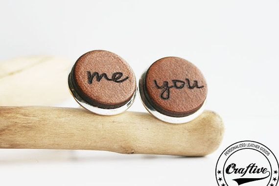 Leather Anniversary Cuff Links Me and You by CraftiveLeather