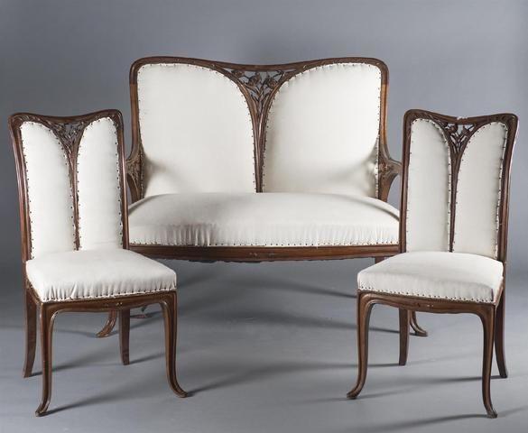 camille gauthier 1870 1963 paul poinsignonsalon art nouveau en noyer compos d 39 un canap. Black Bedroom Furniture Sets. Home Design Ideas