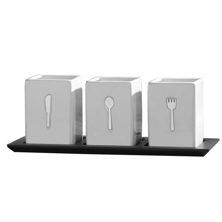 3 Piece Flatware Caddy Set with Wood Tray