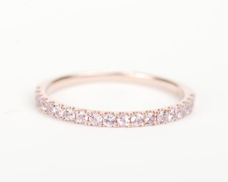 Light Pink Sapphire 14K Rose Gold Wedding Band. $350.00, via Etsy.