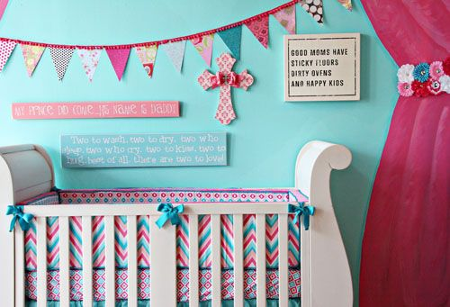 DIY No Sew Bunting TutorialNurseries Decor, No Sewing Buntings, Rainbows Colors, Diy Nurseries, Girls Room, Projects Nurseries, Buntings Flags, Baby, Diy Projects