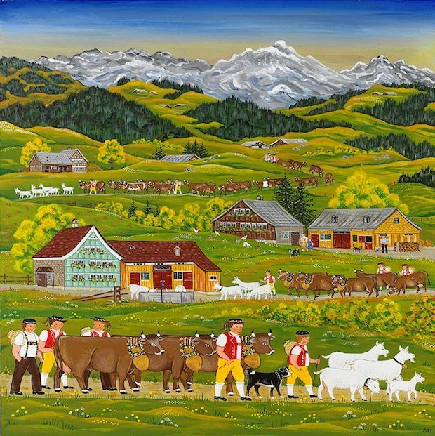 Naive Appenzell peasant painting
