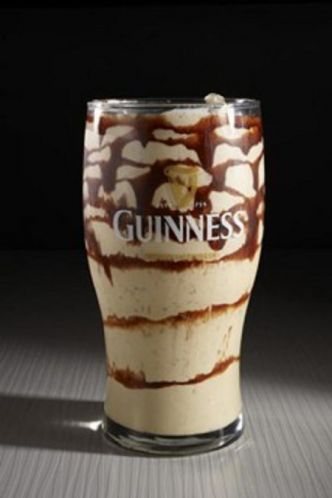 The Tipsy Leprechaun: 1.5 oz Irish Whiskey, 1 oz Irish Cream Liqueur, 3 oz Guinness Stout, 2 scoops vanilla ice cream, 2 oz chocolate syrup
