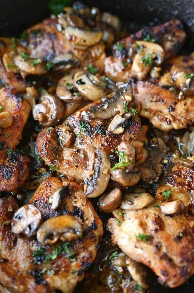 Garlic Mushroom Chicken Thighs Recipe Mushroom Chicken Chicken Thigh Recipes Chicken Dinner