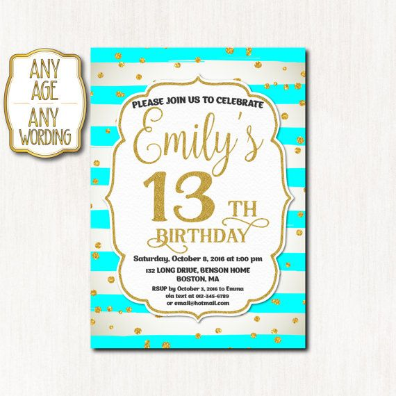 13th birthday invitation Thirteenth birthday Gold by CoolStudio