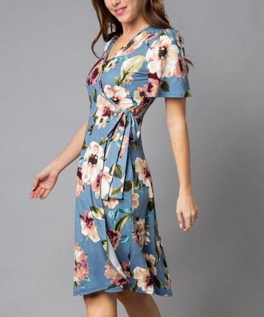 e7da2fd1fb62 Love this Blue Floral Side-Tie Short-Sleeve Midi Dress - Women on #zulily!  #zulilyfinds