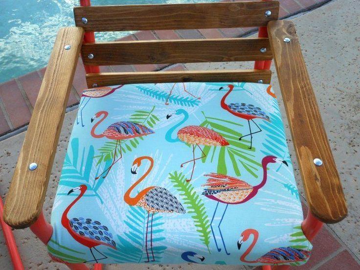 OOAK! Custom Wood and Metal Patio Chairs w/Thick Flamingo Print Cushions