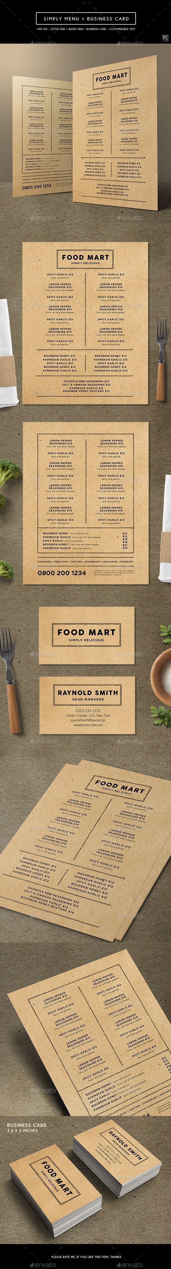 Simply Brown Menu + Business Card - Food Menus Print Templates Download here : https://graphicriver.net/item/simply-brown-menu-business-card/19259645?s_rank=82&ref=Al-fatih