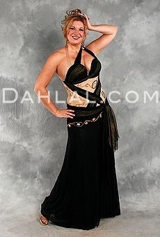 Dahlal Internationale Store - ELOQUENT ECLIPSE in Black with Gold by Designer Eman Zaki, Egyptian belly Dance Costume, $550.00 (http://www.dahlal.com/eloquent-eclipse-in-black-with-gold-by-designer-eman-zaki-egyptian-belly-dance-costume/)