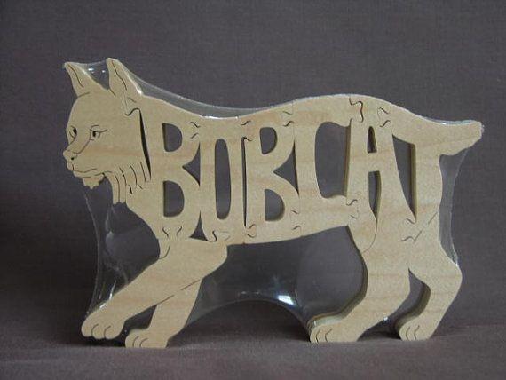 Bob Cat Bobcat Wild Cat  Animal Puzzle Wooden Toy by Puzzimals