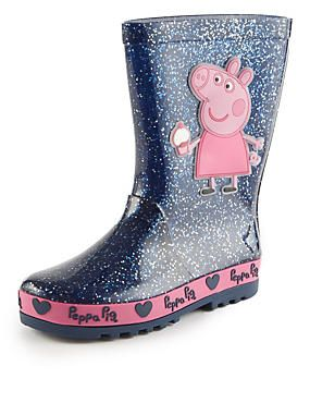 12-14 P. M&S. Kids' Peppa Pig™ Appliqué Glitter Welly Boots