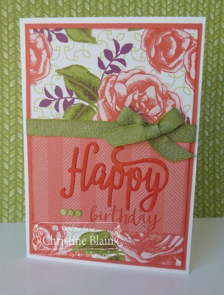 STAMPIN' UP! PETAL GARDEN BIRTHDAY CARD IN CALYPSO CORAL