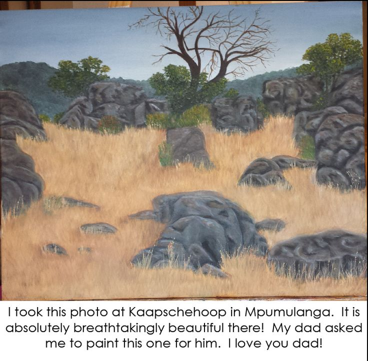 An oil painting of the view at Kaapsche Hoop in Mpumulanga, South Africa.  Lots of yellow field grass and grey rocks.