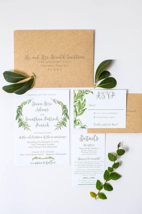 Wedding Invitations Greenery Invitation by ohmydesignsbySteph