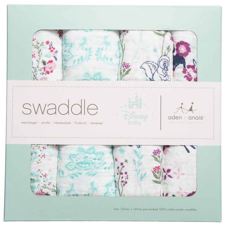 Aden & Anais pack of 4 large swaddling baby blankets. Made in soft cotton muslin, with a cute Disney' Bambi' print. They are made from a soft breathable fabric which reduces the risk of overheating and becomes softer with every wash. Traditionally used for swaddling blankets, they are versatile and can be used used as burp cloths, stroller covers, car seat liners and tummy time blankets plus much more.