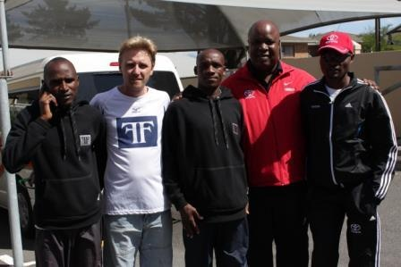 VIPs Hilary and Kip fm Kenya, with Lucas, Chairman of ToyotaSA Athletics Club and Stephen Muzhingi with Manager of athletes, Craig Fry