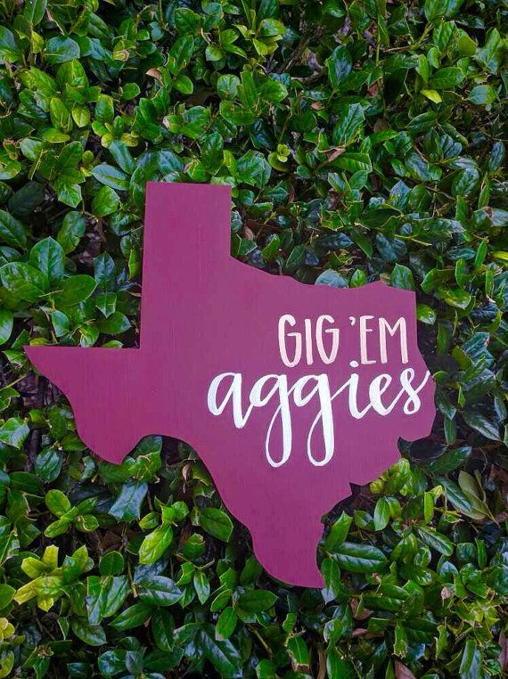 This Texas A&M wall hanging is perfect for any dorm or apartment wall decor. This order can be customized to any other Texas university.  Item details: 12 wooden Texas cutout Painted maroon and hand lettered with gold and white paint markers.