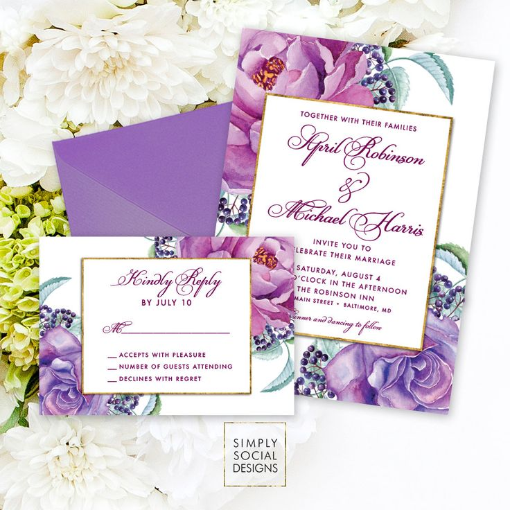Purple Floral Wedding Invitation Suite - Reply Card Faux Gold Foil Classy Purple Flowers Fall Wedding Invite Calligraphy Invite Printable