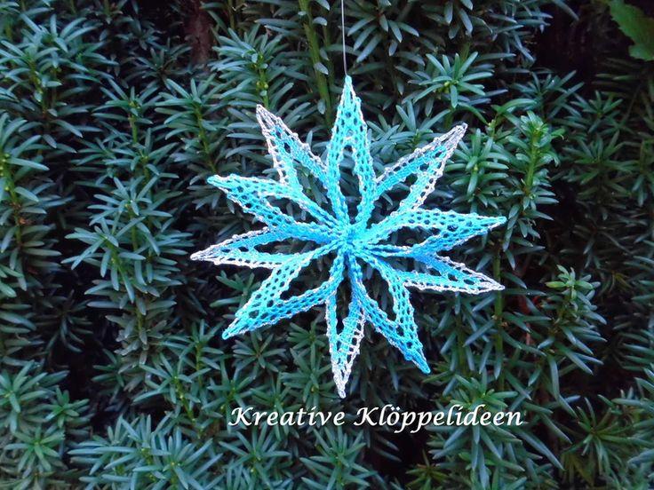 Weihnachtsdeko - Klöppelstern Stern Christbaumschmuck Spitze - ein Designerstück von Kreative-Kloeppelideen bei DaWanda