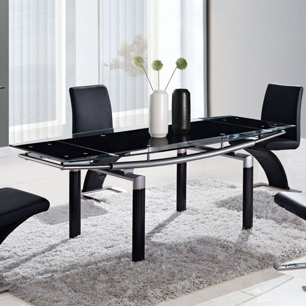 Global Furniture - Black Glass Dining Table with Black Legs - D88DT-BL