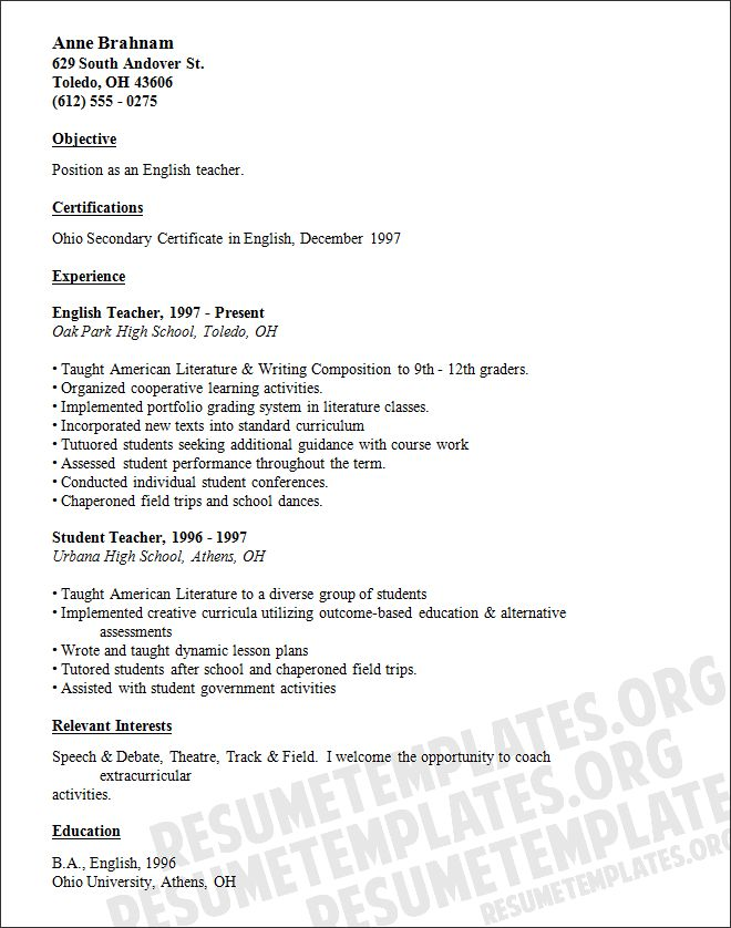 45 best Teacher resumes images on Pinterest Teacher resume - high school graduate resume templates
