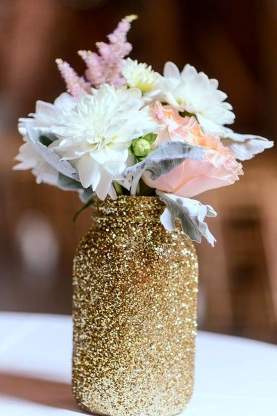 centerpieces for weddings Glitter Mason Jar Centerpieces for Rustic Wedding