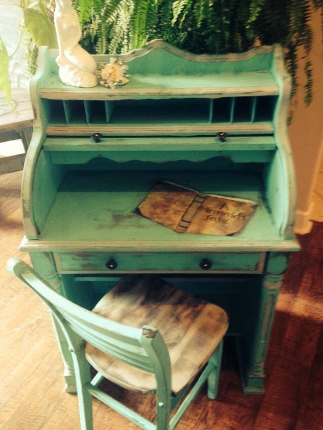 Painted in Costal Colors Beach Chic Paint My client asked me to take this vintage roll top desk and turn it into a desk for her daughter with a mermaid flare. I…