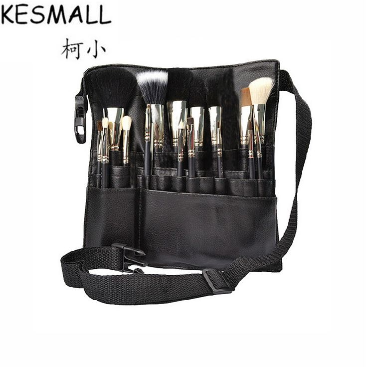 KESMALL Makeup Brush Holder Faux Leather Professional PVC Apron Bag With Belt Strap Protable Make Up Bag Cosmetic Brushes CO408 #Affiliate