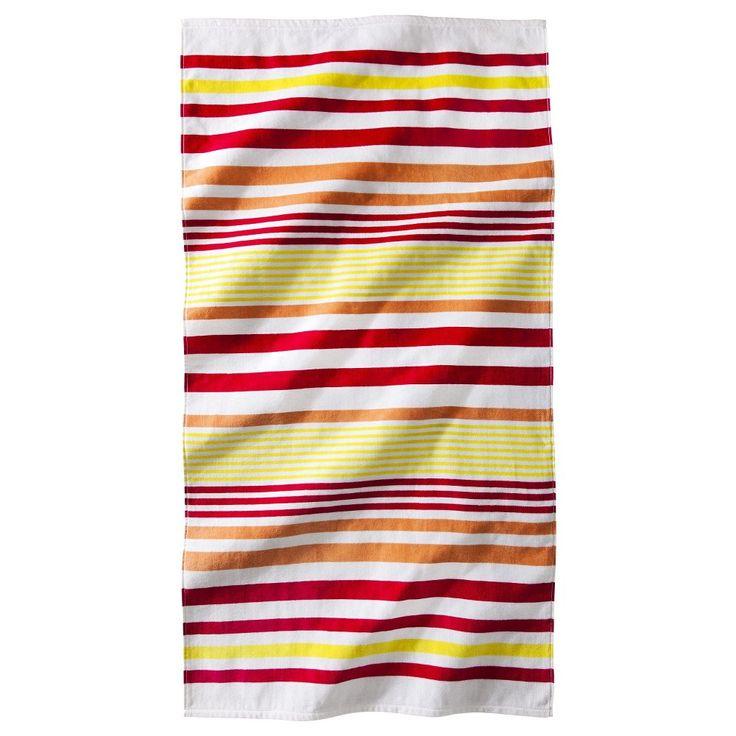Stripe Beach Towel - Coral/Yellow (Pink/Yellow)