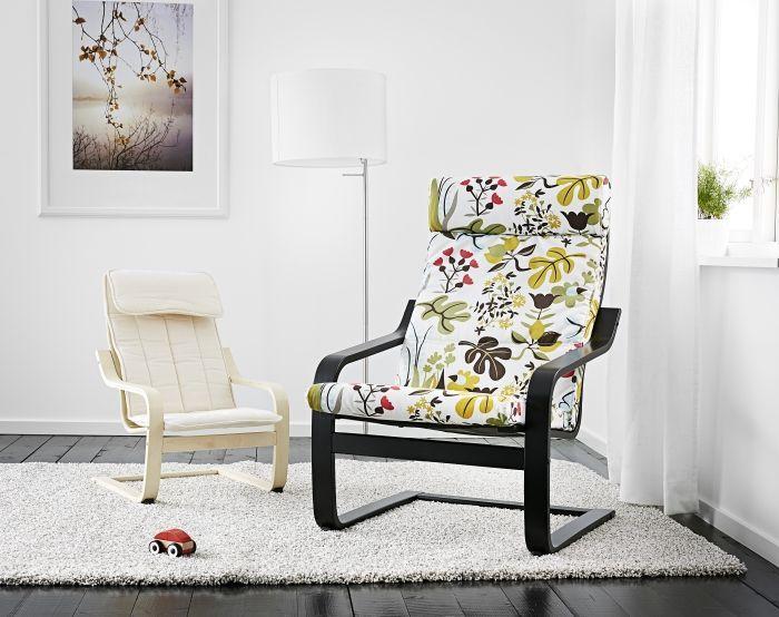 IKEAのアームチェア&ロッキングチェアPOÄNG(ポエング)の紹介です。おしゃれで丈夫、クッションカバーが取り外せて洗濯可能だから汚れも気にならず、組み立ても簡単。フットスツールがあればさらに座り心地快適。子供用チェアもある人気の一人掛け椅子です。